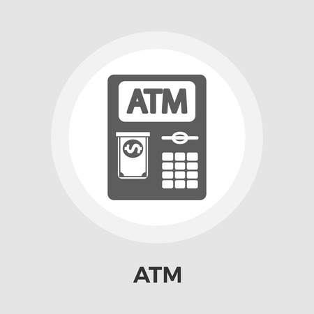 creditcard: ATM. Single flat icon on white background. Vector illustration.