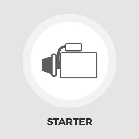 starter: Automotive starter icon vector. Flat icon isolated on the white background. Editable file. Vector illustration. Illustration