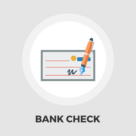 chequebook: Bank check icon vector. Flat icon isolated on the white background. Editable file. Vector illustration.
