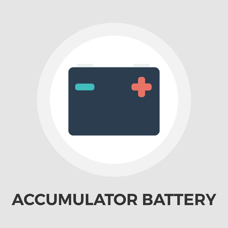 wattage: Accumulator Battery Icon Vector. Flat icon isolated on the white background. Editable file. Vector illustration.