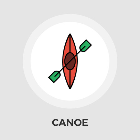 recreational pursuit: Canoe icon vector. Flat icon isolated on the white background. Editable file. Vector illustration.