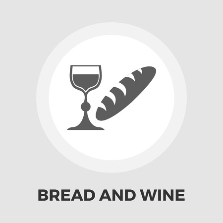 bread and wine: Bread and wine icon vector. Flat icon isolated on the white background. Illustration