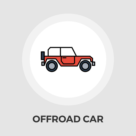 offroad car: Offroad car icon vector. Flat icon isolated on the white background.