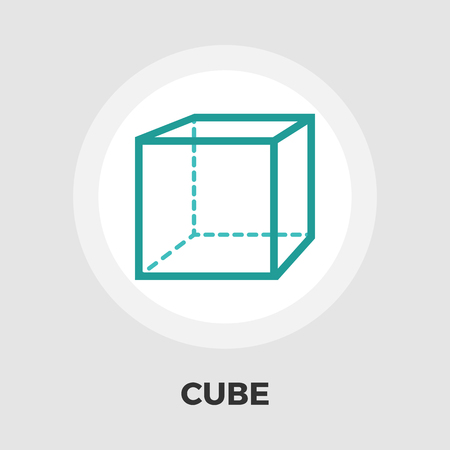 theorem: Geometric cube icon vector. Flat icon isolated on the white background. Editable EPS file. Vector illustration. Vectores