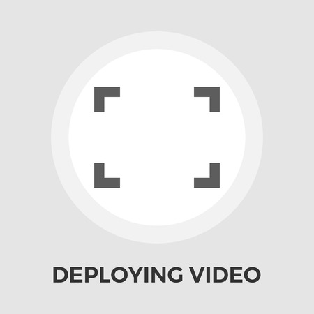 wider: Deploying video icon vector. Flat icon isolated on the white background. Editable EPS file. Vector illustration.