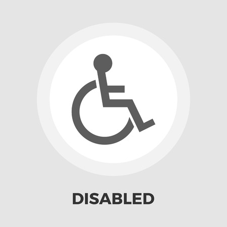 paraplegic: Disabled icon vector. Flat icon isolated on the white background. Editable EPS file. Vector illustration. Vectores