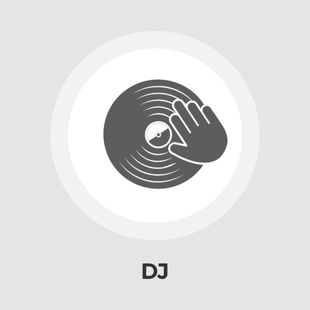 disk jockey: Vinyl disc whit hand icon vector. Flat icon isolated on the white background. Editable EPS file. Vector illustration.