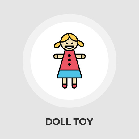 pigtail: Doll toy icon vector. Flat icon isolated on the white background. Editable EPS file. Vector illustration.