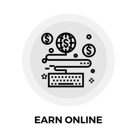 earn: Earn Online icon vector. Flat icon isolated on the white background. Editable EPS file. Vector illustration.