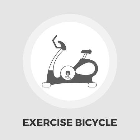 cardiovascular exercising: Exercise bicycle icon vector. Flat icon isolated on the white background. Editable EPS file. Vector illustration.