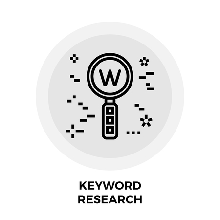 Keyword Research Icon Vector. Flat icon isolated on the white background. Editable EPS file. Vector illustration. Illustration
