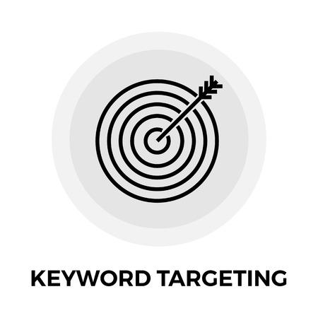 keyword: Keyword Targeting icon vector. Flat icon isolated on the white background. Editable EPS file. Vector illustration.