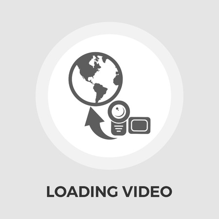 earth moving: Upload video icon vector. Flat icon isolated on the white background. Editable EPS file. Vector illustration.