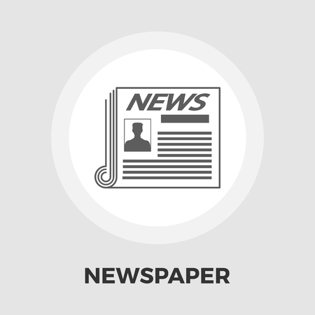 reportage: Newspaper icon vector. Flat icon isolated on the white background. Editable EPS file. Vector illustration.