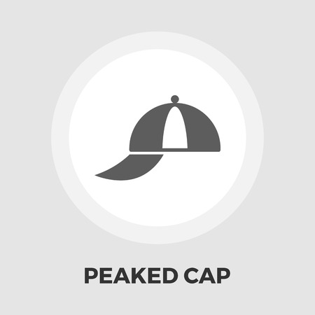 peaked: Peaked cap icon vector. Flat icon isolated on the white background. Editable EPS file. Vector illustration.