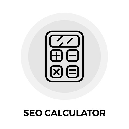 finance department: SEO Calculator icon vector. Flat icon isolated on the white background. Editable EPS file. Vector illustration.