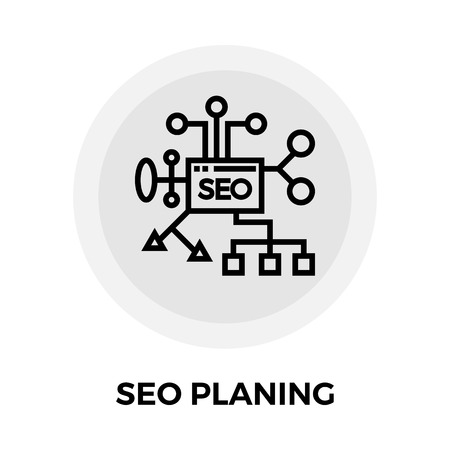 planing: SEO Planing icon vector. Flat icon isolated on the white background. Editable EPS file. Vector illustration.