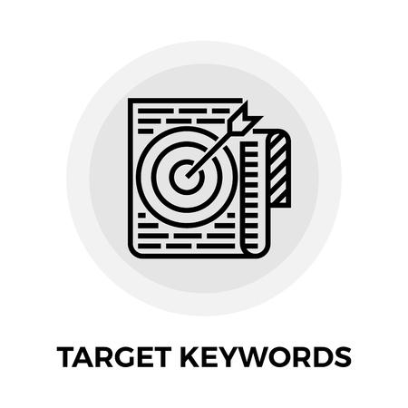 keywords background: Target Keywords icon vector. Flat icon isolated on the white background. Editable EPS file. Vector illustration. Illustration