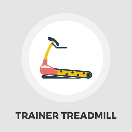 cardiovascular exercising: Trainer treadmill icon vector. Flat icon isolated on the white background. Editable EPS file. Vector illustration.