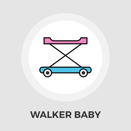 walker: Walker baby icon vector. Flat icon isolated on the white background. Editable EPS file. Vector illustration. Illustration