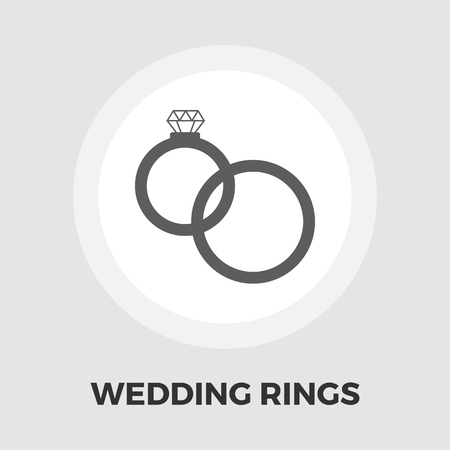 wedding reception decoration: Wedding rings icon vector. Flat icon isolated on the white background. Editable EPS file. Vector illustration. Illustration