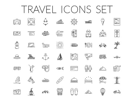 excursions: Travel icons set. Summer holidays, vacation and travel objects. Modern infographic vector logo pictogram collection concept. Line style.