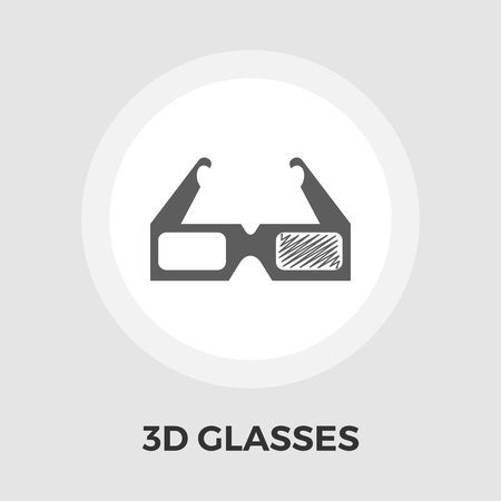 3d glasses: 3D Glasses Icon Vector. Flat icon isolated on the white background. Editable EPS file. Vector illustration.