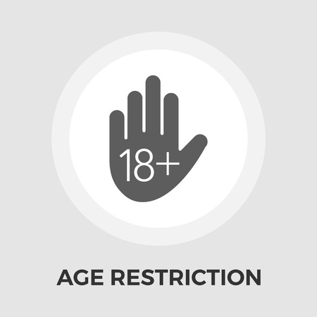 pornography: Age restriction Icon Vector. Flat icon isolated on the white background. Editable EPS file. Vector illustration.
