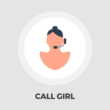 call centre girl: Call girl icon vector. Flat icon isolated on the white background. Editable EPS file. Vector illustration.