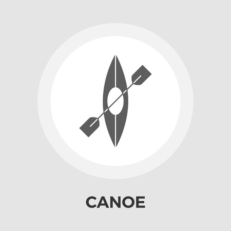 recreational pursuit: Canoe icon vector. Flat icon isolated on the white background. Editable EPS file. Vector illustration.