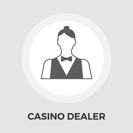 dealer: Casino Dealer Icon Vector. Flat icon isolated on the white background. Editable EPS file. Vector illustration. Illustration