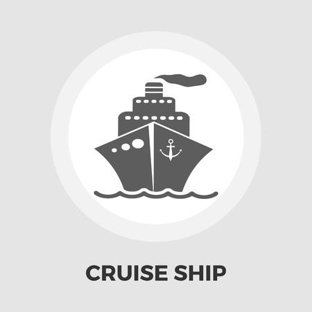 Cruise Ship Icon Vector. Flach-Symbol auf dem weißen Hintergrund. Editierbare EPS-Datei. Vektor-Illustration.
