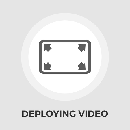 full size: Deploying video icon vector. Flat icon isolated on the white background. Editable EPS file. Vector illustration.