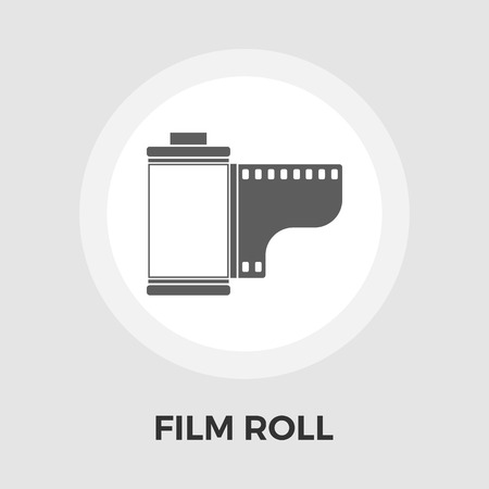 35mm film motion picture camera: Film icon vector. Flat icon isolated on the white background. Editable EPS file. Vector illustration.