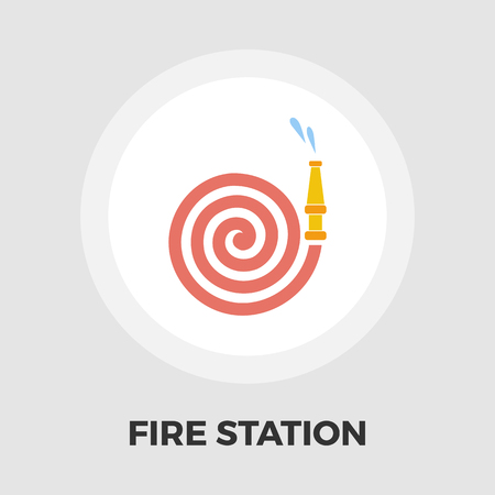 fire station: Fire Station icon vector. Flat icon isolated on the white background. Editable EPS file. Vector illustration.