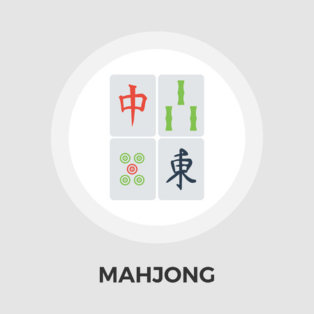 lucky bamboo: Mahjong icon vector. Flat icon isolated on the white background. Editable EPS file. Vector illustration.