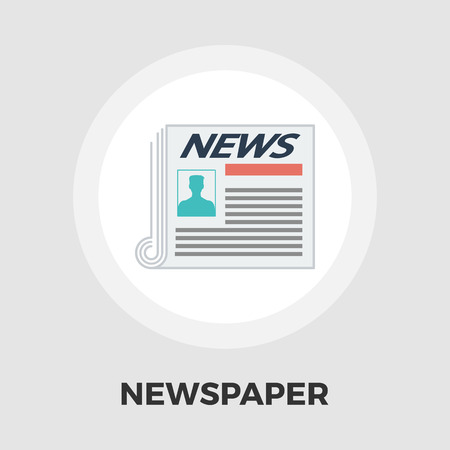 currently: Newspaper icon vector. Flat icon isolated on the white background. Editable EPS file. Vector illustration.