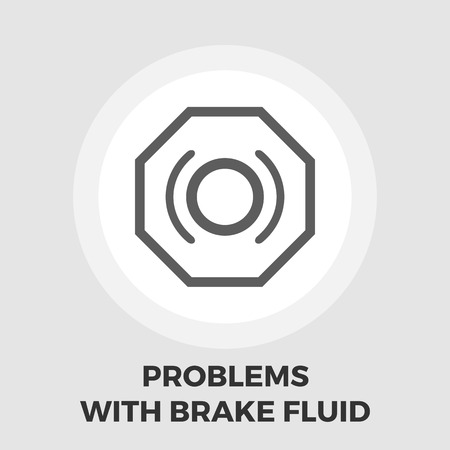 malfunction: Problems with brake fluid icon vector. Flat icon isolated on the white background. Editable EPS file. Vector illustration.