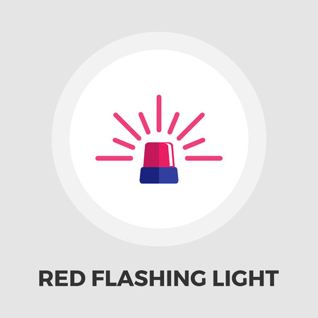 emergency light: Red flashing emergency light icon vector. Flat icon isolated on the white background. Editable EPS file. Vector illustration.