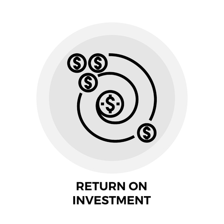 stylized banking: Return on Investment icon vector. Flat icon isolated on the white background. Editable EPS file. Vector illustration.
