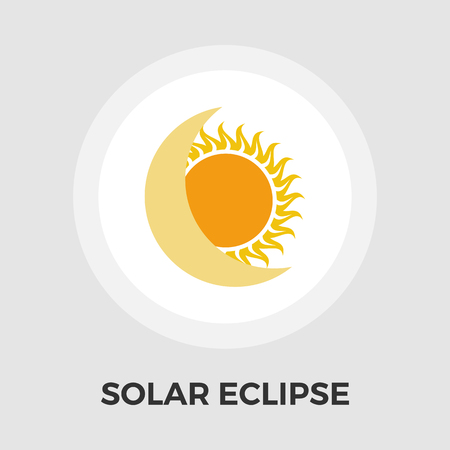 eclipse: Solar eclipse icon vector. Flat icon isolated on the white background. Editable EPS file. Vector illustration.