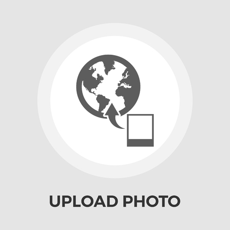 earth moving: Upload photo icon vector. Flat icon isolated on the white background. Editable EPS file. Vector illustration.