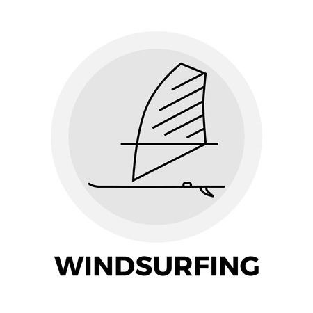 windsurf: Windsurfing Icon Vector. Flat icon isolated on the white background. Editable EPS file. Vector illustration.