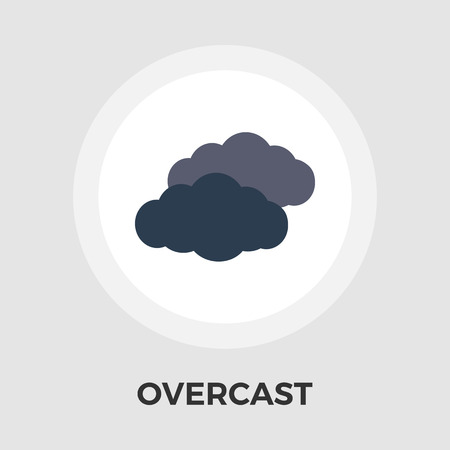 overcast: Overcast icon vector. Flat icon isolated on the white background. Editable EPS file. Vector illustration.