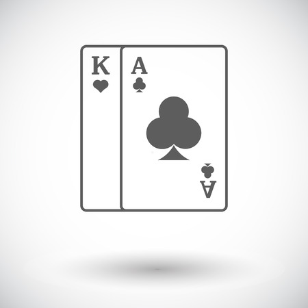 play card: Play card. Single flat icon on white background. Vector illustration.
