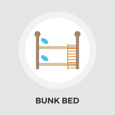 bunkbed: Bunk bed icon vector. Flat icon isolated on the white background. Editable EPS file. Vector illustration.