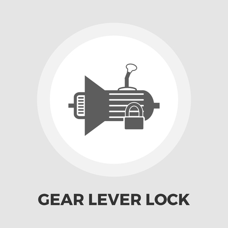 automatic transmission: Gear lever lock icon vector. Flat icon isolated on the white background. Editable EPS file. Vector illustration.