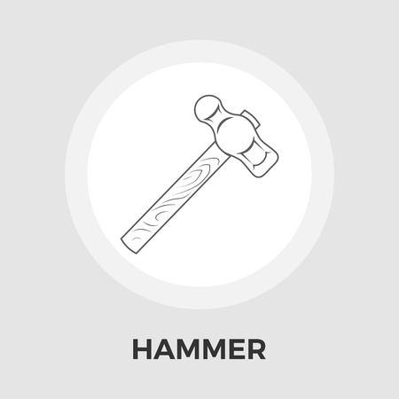 impact tool: Hammer Icon Vector. Flat icon isolated on the white background. Editable EPS file. Vector illustration.