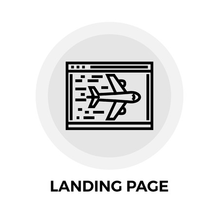 airplan: Landing Page icon vector. Flat icon isolated on the white background. Editable EPS file. Vector illustration.
