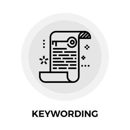 keywording: Keywording icon vector. Flat icon isolated on the white background. Editable EPS file. Vector illustration.
